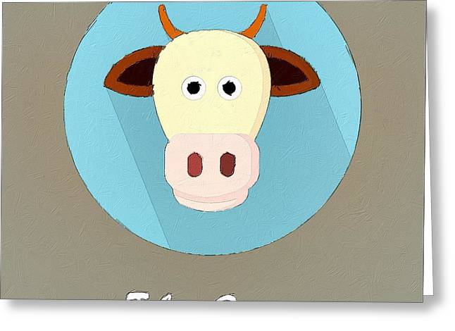 Cute Animal Cartoon Greeting Cards - The Cow Cute Portrait Greeting Card by Florian Rodarte