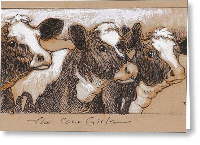 Dairy Cow Greeting Cards - The Cow Girls Drawing Greeting Card by Tracie Thompson