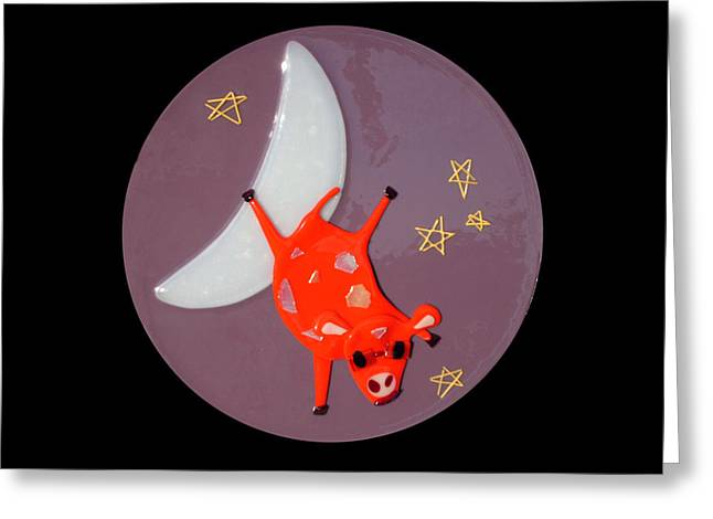 Fairy Glass Art Greeting Cards - The Cow Jumped Over The Moon Greeting Card by Cat Christensen