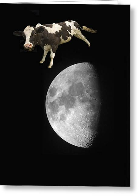 The Big One Greeting Cards - The Cow Jumped Over The Moon Greeting Card by John Short