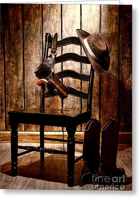 Holster Greeting Cards - The Cowboy Chair Greeting Card by Olivier Le Queinec