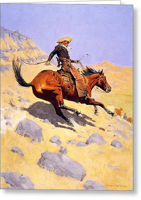 Horse Whip Digital Art Greeting Cards - The Cowboy Greeting Card by Fredrick Remington