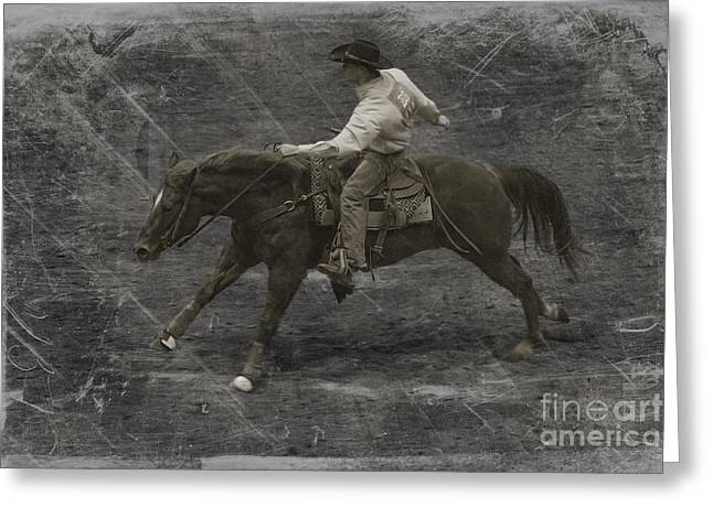 Historical Images Greeting Cards - The Cowboy Greeting Card by Janice Rae Pariza