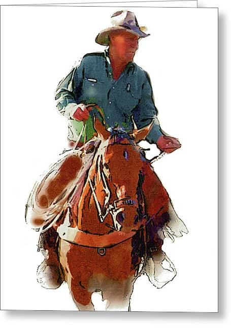 4 Corners Greeting Cards - The Cowboy Greeting Card by Randy Follis