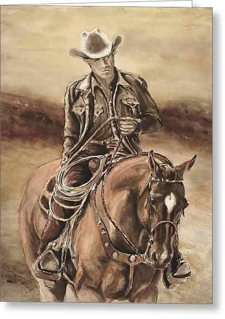 Quarter Horse Mixed Media Greeting Cards - The Cowboy Greeting Card by Sara Cuthbert