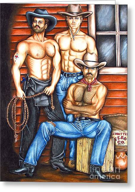 Homoerotic Drawings Greeting Cards - The Cowboy Way Greeting Card by Joseph Sonday