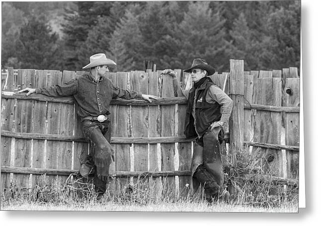 Old Fence Greeting Cards - The Cowboys and the Fence Greeting Card by Carol Walker