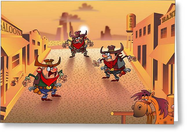 Old West Postcards Greeting Cards - The cowboys Greeting Card by Vitaliy Shcherbak