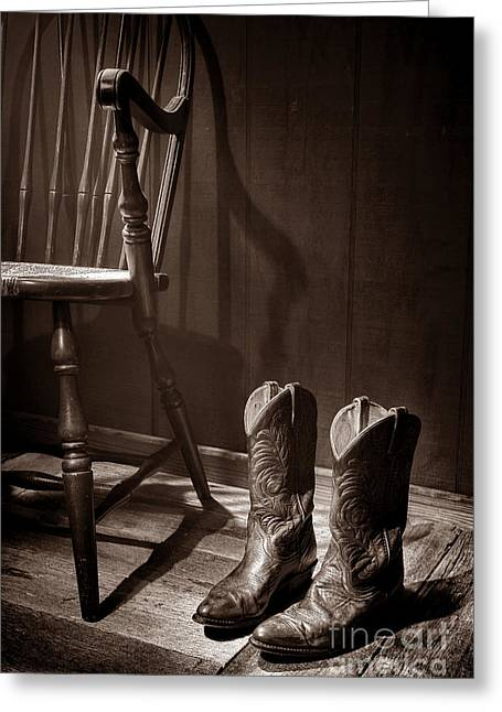 Cowgirl Boots Greeting Cards - The Cowgirl Boots and the Old Chair Greeting Card by American West Legend By Olivier Le Queinec