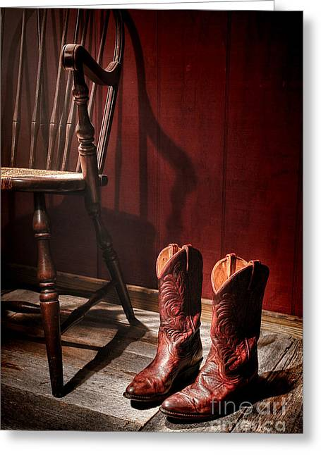 Cowgirl Greeting Cards - The Cowgirl Boots and the Old Chair Greeting Card by Olivier Le Queinec