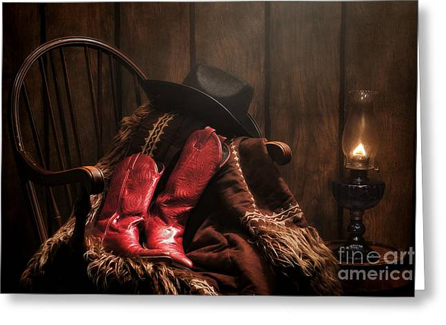 Old Cabins Photographs Greeting Cards - The Cowgirl Rest Greeting Card by Olivier Le Queinec