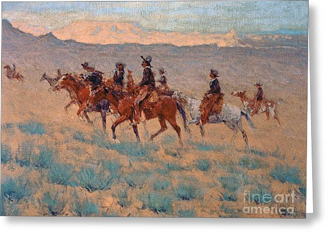 The Plateaus Greeting Cards - The Cowpunchers Greeting Card by Frederic Remington