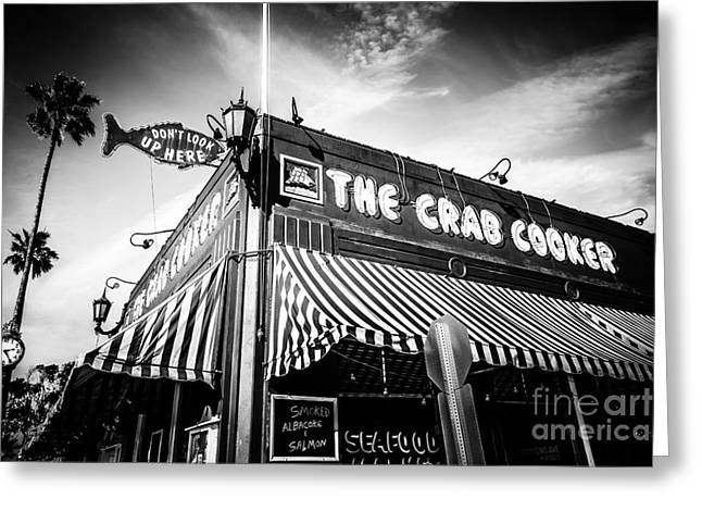 Business Greeting Cards - The Crab Cooker Newport Beach Black and White Photo Greeting Card by Paul Velgos