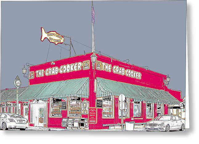 Beach Photos Drawings Greeting Cards - The Crab Cooker Newport Beach Greeting Card by Stephen Schuda