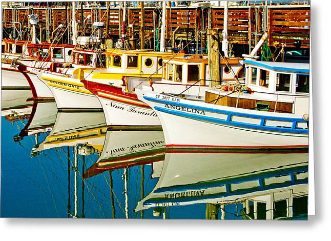California Ocean Photography Greeting Cards - The Crab Fleet Greeting Card by Bill Gallagher