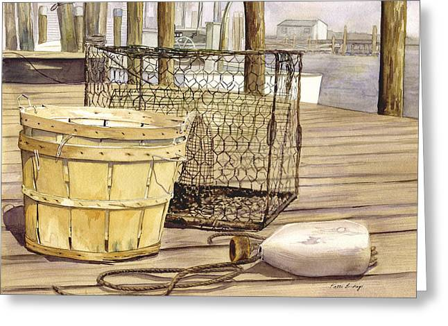 """""""crab Nets"""" Greeting Cards - The Crabber Greeting Card by Patti Bishop"""
