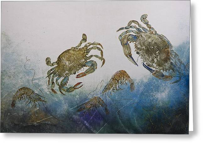 Fish Rubbing Greeting Cards - The Crabby Couple Greeting Card by Nancy Gorr