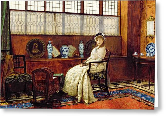Lullaby Greeting Cards - The Cradle Song Greeting Card by John Atkinson Grimshaw