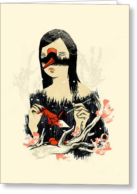 Macabre Greeting Cards - The Crane Wife Greeting Card by Budi Satria Kwan