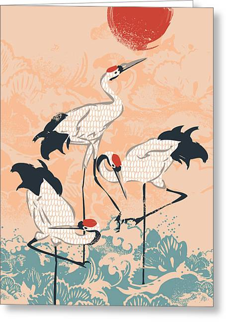Asian Art Greeting Cards - The Cranes Greeting Card by Budi Satria Kwan