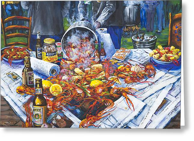 Beer Paintings Greeting Cards - The Crawfish Boil Greeting Card by Dianne Parks