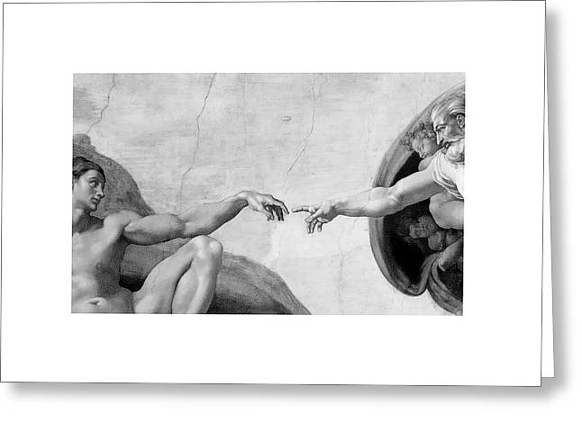 Adam Pyrography Greeting Cards - The Creation Of Adam By God Greeting Card by Robert Klemm