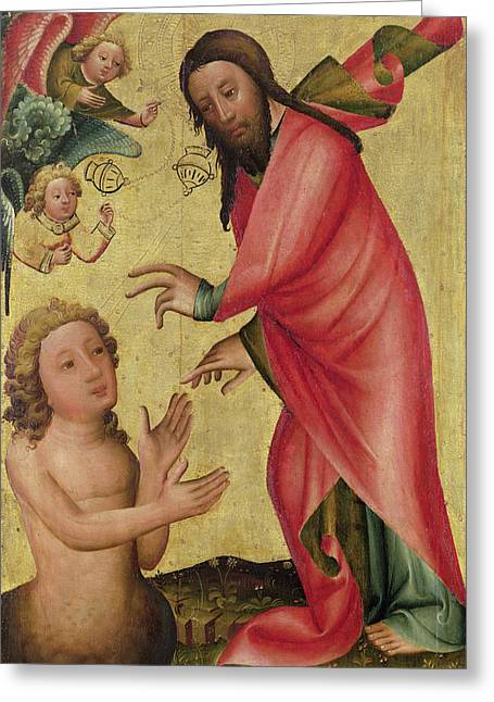 Reach Greeting Cards - The Creation Of Adam, Detail From The Grabow Altarpiece, 1379-83 Tempera On Panel Greeting Card by Master Bertram of Minden