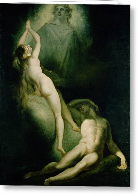 Garden Of Eden Greeting Cards - The Creation Of Eve, 1791-93 Oil On Canvas Greeting Card by Henry Fuseli
