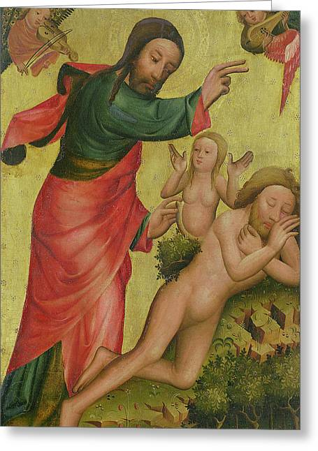 Creationist Paintings Greeting Cards - The Creation of Eve Greeting Card by Master Bertram of Minden