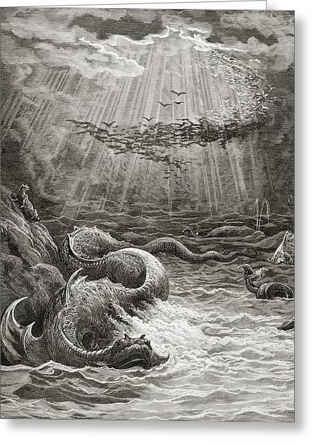 Grey Clouds Greeting Cards - The Creation of Fish and Birds Greeting Card by Gustave Dore