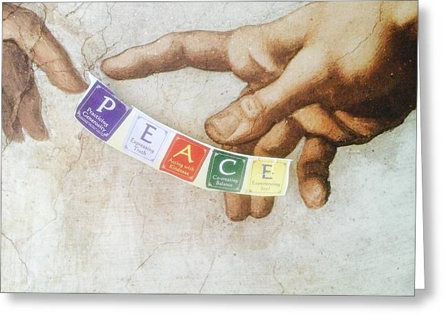The Creation Of Adam Greeting Cards - The Creation of Peace Greeting Card by Renee Marie