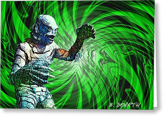 Creature From The Black Lagoon Greeting Cards - The Creature Greeting Card by Brian Dearth