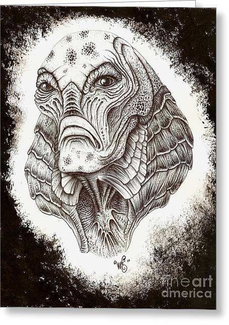 Wave Art Drawings Greeting Cards - The Creature from the Black Lagoon Greeting Card by Wave