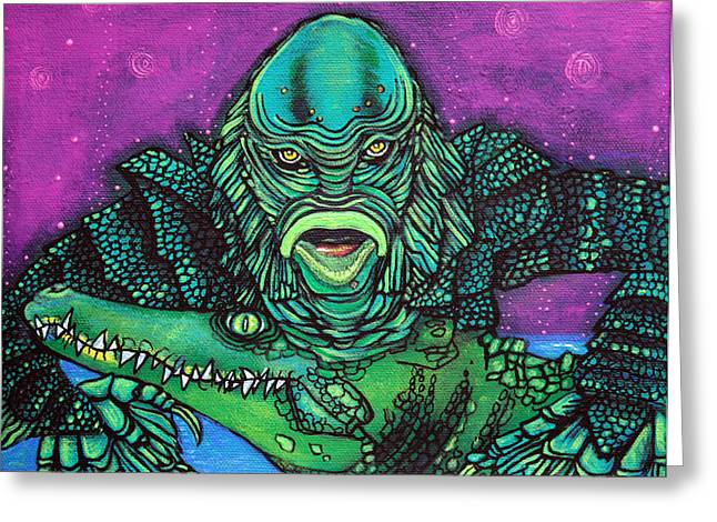 Creature From The Black Lagoon Greeting Cards - The Creature Lives Greeting Card by Laura Barbosa