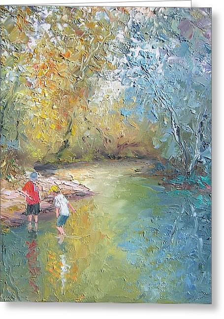 Reflection Of Trees In Water Greeting Cards - The Creek in the Forest Greeting Card by Jan Matson