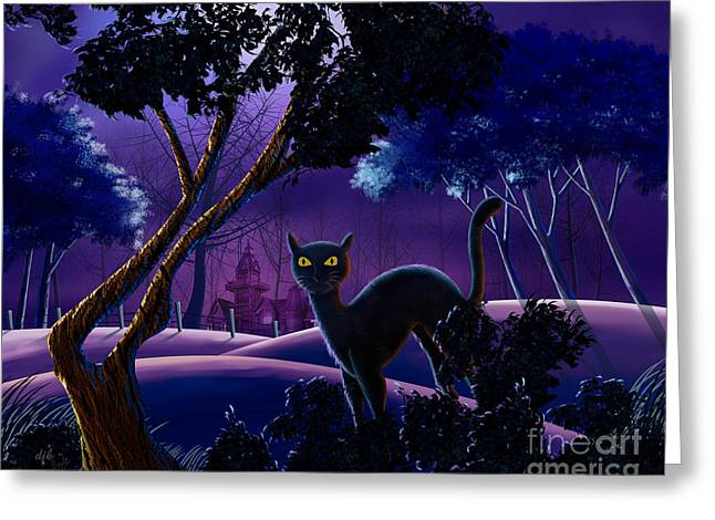 Castle Horror Illustration Greeting Cards - The Creepy Cat of Ash Hills Greeting Card by Bedros Awak