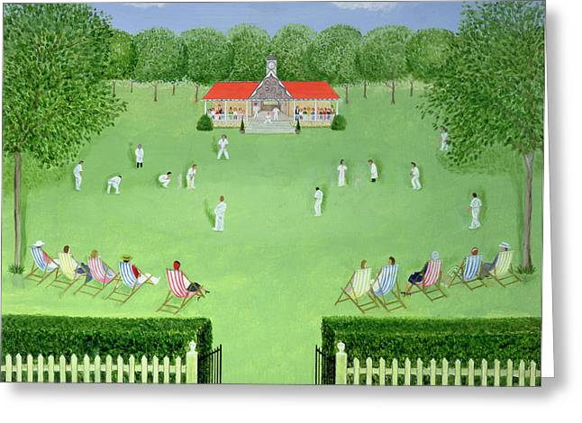 Deckchair Greeting Cards - The Cricket Match, 1981 Oil On Board Greeting Card by Mark Baring