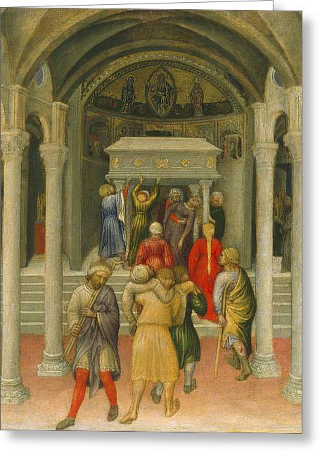 Lame Greeting Cards - The Crippled and Sick Cured at the Tomb of Saint Nicholas Greeting Card by Gentile da Fabriano