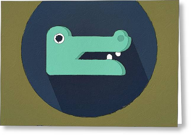 Suburban Posters Greeting Cards - The Crocodile Cute Portrait Greeting Card by Florian Rodarte