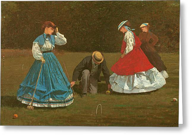 Croquet Greeting Cards - The croquet game Greeting Card by Winslow Homer