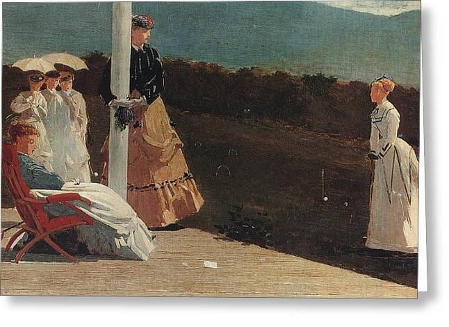 The Croquet Match Greeting Card by Celestial Images