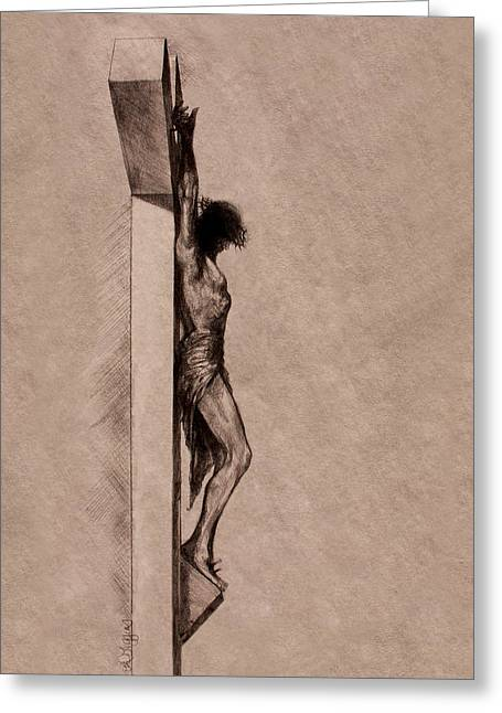 Crucifix Drawings Greeting Cards - The Cross 2 Greeting Card by Derrick Higgins