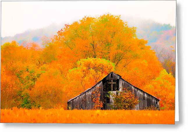 Randall Branham Greeting Cards - The Cross and Barn Greeting Card by Randall Branham
