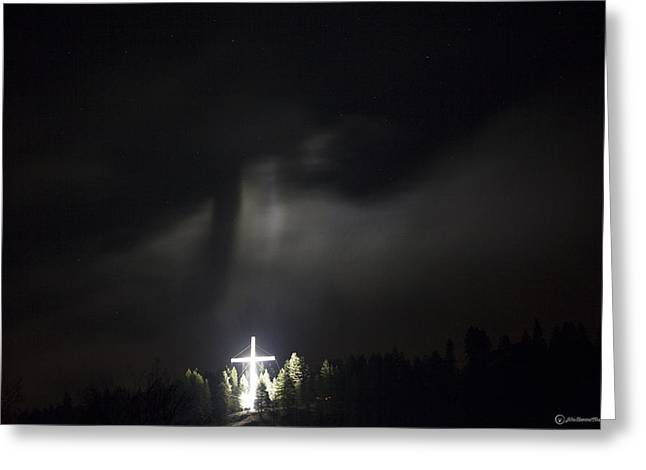 """peace Love Sign"" Greeting Cards - The Cross and Jesus Greeting Card by John Harwood"