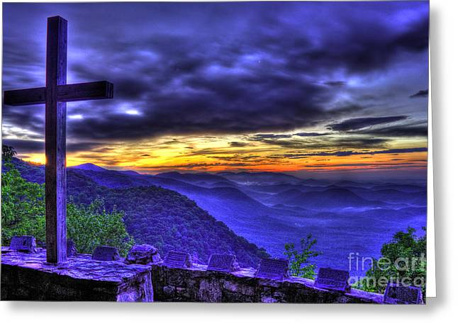 Summer Camps Greeting Cards - Sunrise and The Cross at Pretty Place Chapel Greeting Card by Reid Callaway