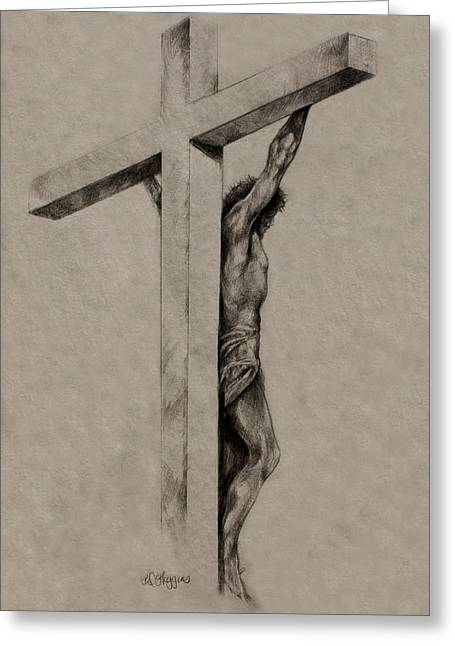 Crucifix Drawings Greeting Cards - The Cross Greeting Card by Derrick Higgins