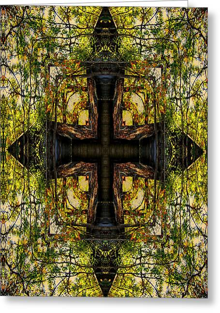 Devotional Art Mixed Media Greeting Cards - The Cross Greeting Card by Ester  Rogers