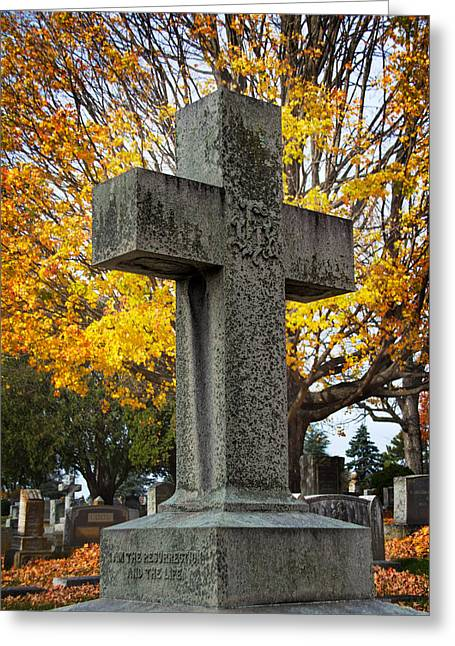 Final Resting Place Greeting Cards - The Cross Greeting Card by Jemmy Archer
