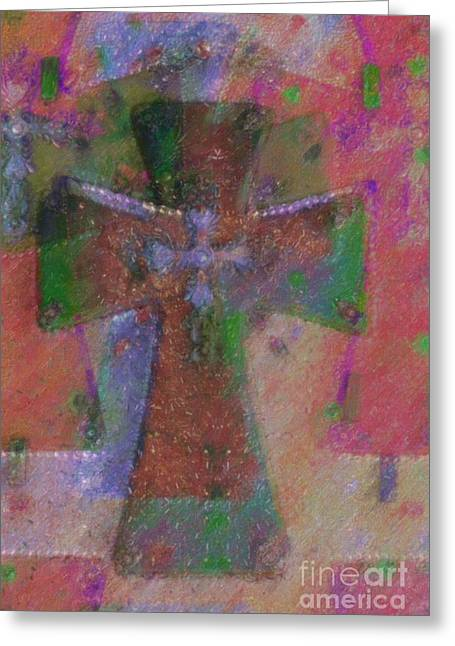 Geometric Style Greeting Cards - The Cross Greeting Card by Liane Wright