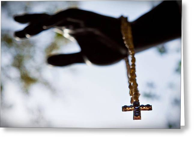Rosary Greeting Cards - The Cross Greeting Card by Linda Unger